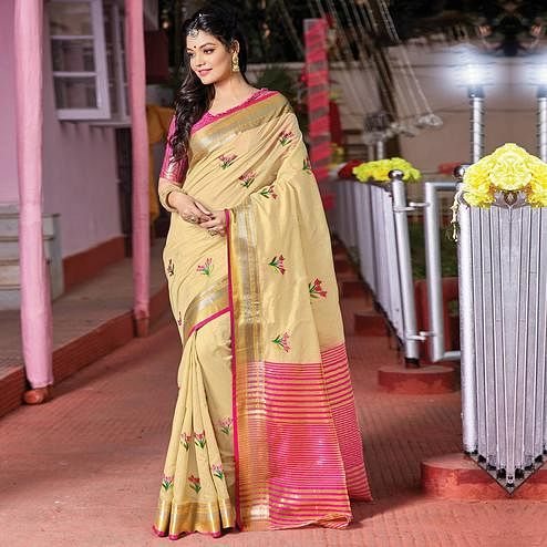 Exceptional Cream Colored Festive Wear Woven Cotton Silk Saree