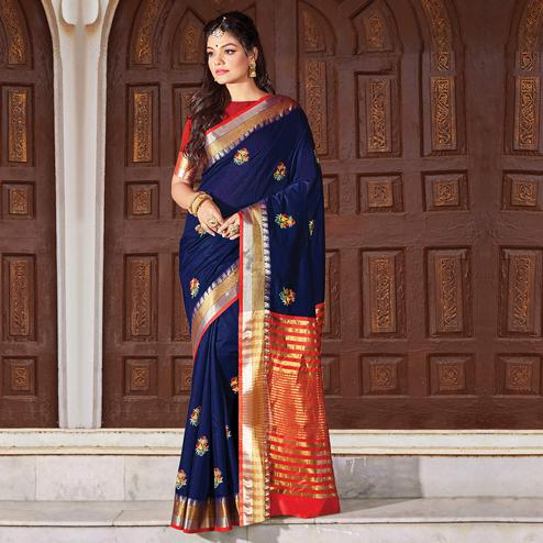 Gleaming Navy Blue Colored Festive Wear Woven Cotton Silk Saree