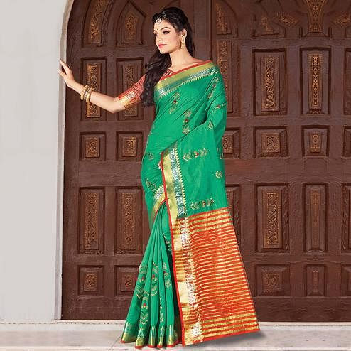 Mesmeric Green Colored Festive Wear Woven Cotton Silk Saree