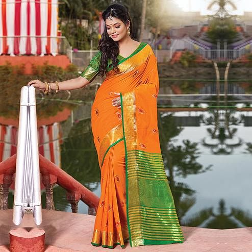 Unique Orange Colored Festive Wear Woven Cotton Silk Saree