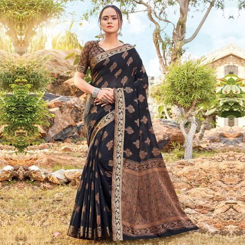 Adorable Black Colored Festive Wear Woven Cotton Silk Saree