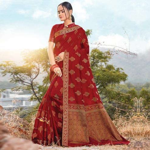 Glorious Maroon Colored Festive Wear Woven Cotton Silk Saree