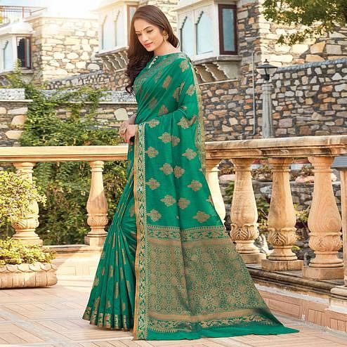 Attractive Green Colored Festive Wear Woven Cotton Silk Saree