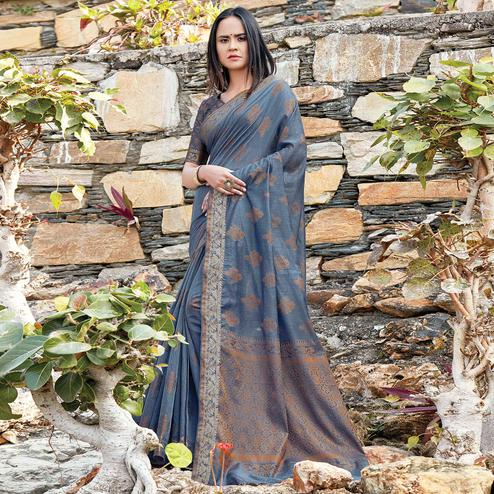 Beautiful Grey Colored Festive Wear Woven Cotton Silk Saree