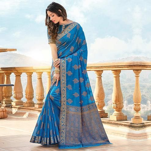 Blooming Blue Colored Festive Wear Woven Cotton Silk Saree