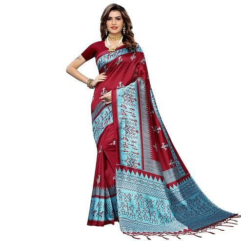 Pleasant Maroon Colored Festive Wear Warli Printed Art Silk Saree With Tassels