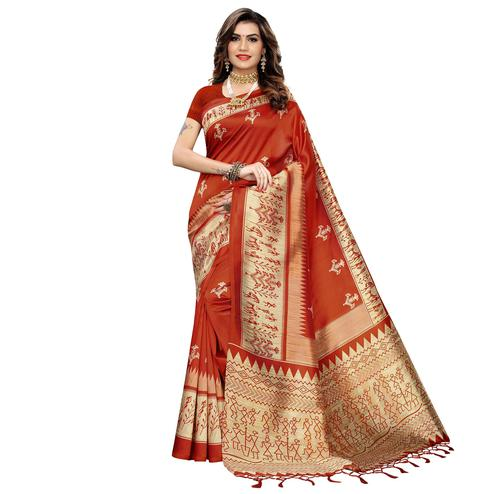 Opulent Orange Colored Festive Wear Warli Printed Art Silk Saree With Tassels