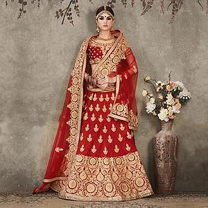 Maroon Pure Silk Wedding Lehenga Choli