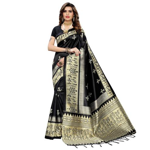 Energetic Black Colored Festive Wear Warli Printed Art Silk Saree With Tassels