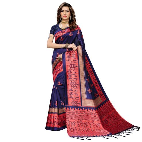 Glowing Blue Colored Festive Wear Warli Printed Art Silk Saree With Tassels