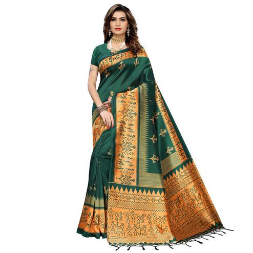 Gleaming Dark Green Colored Festive Wear Warli Printed Art Silk Saree With Tassels