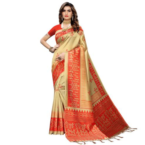 Mesmeric Beige Colored Festive Wear Warli Printed Art Silk Saree With Tassels