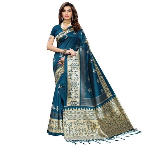 Unique Dark Rama Blue Colored Festive Wear Warli Printed Art Silk Saree With Tassels