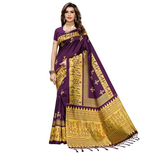 Magnetic Purple Colored Festive Wear Warli Printed Art Silk Saree With Tassels
