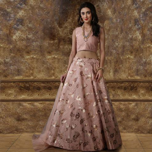 Fantastic Pink Colored Partywear Foil Printed Silk Lehenga Choli