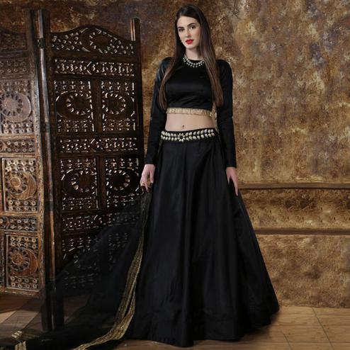 Amazing Black Colored Partywear Tapetta-Satin Lehenga Choli