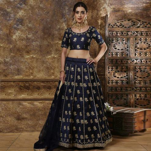 Captivating Navy Blue Colored Partywear Embroidered Silk Lehenga Choli
