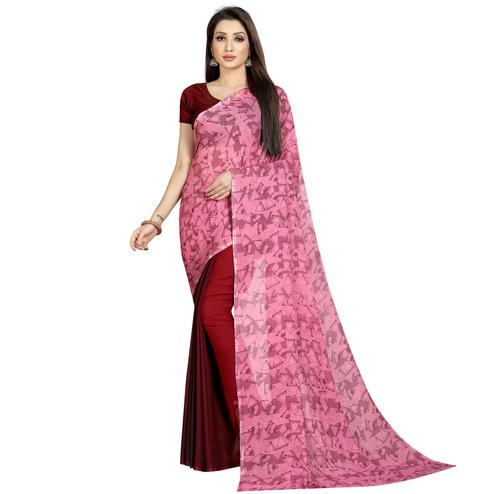 Classy Maroon-Pink Colored Casual Wear Printed Georgette Half & Half Saree