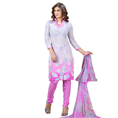 Grey - Pink Printed Salwar Suit