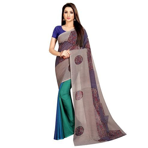Desirable Green-Brown Colored Casual Wear Printed Georgette Half & Half Saree