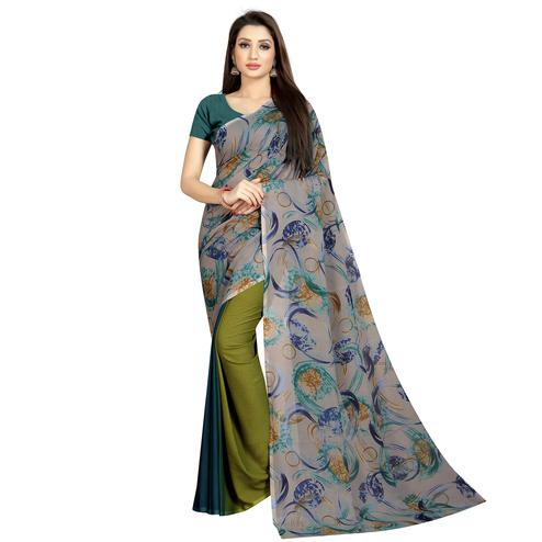 Exotic Green-Grey Colored Casual Wear Printed Georgette Half & Half Saree