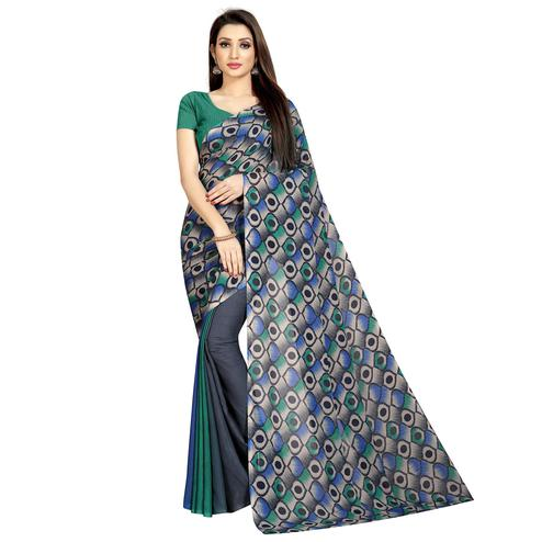Graceful Grey Colored Casual Wear Printed Georgette Half & Half Saree