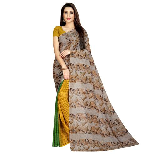 Blooming Yellow-Beige Colored Casual Wear Printed Georgette Half & Half Saree