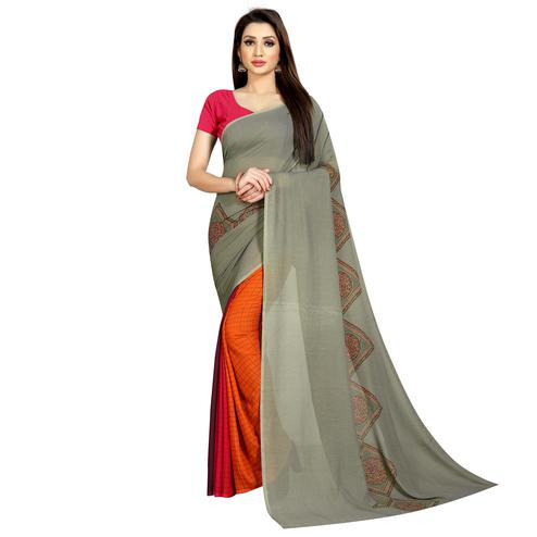 Charming Orange-Grey Colored Casual Wear Printed Georgette Half & Half Saree