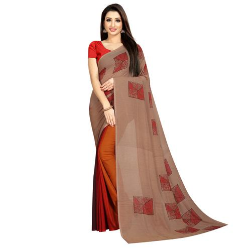 Jazzy Orange-Brown Colored Casual Wear Printed Georgette Half & Half Saree