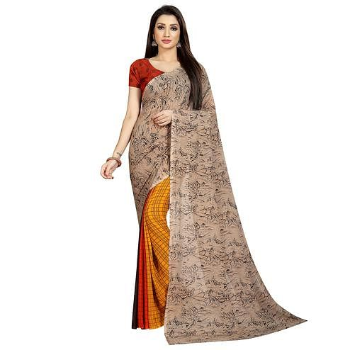 Delightful Yellow-Beige Colored Casual Wear Printed Georgette Half & Half Saree