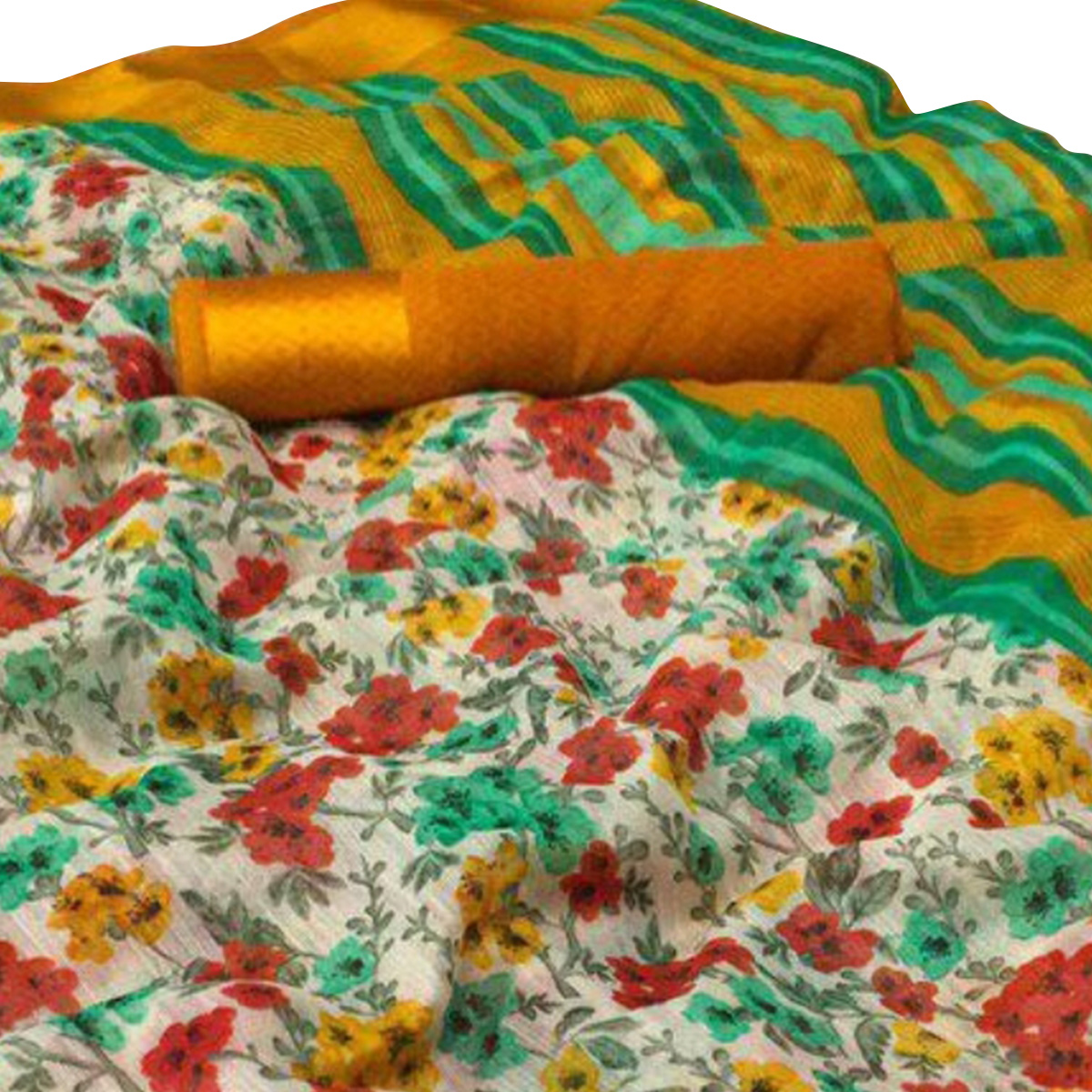 Adorable Off White-Yellow Colored Casual Wear Floral Printed Linen Saree