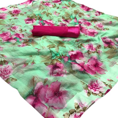 Glorious Green Colored Casual Wear Floral Printed Linen Saree
