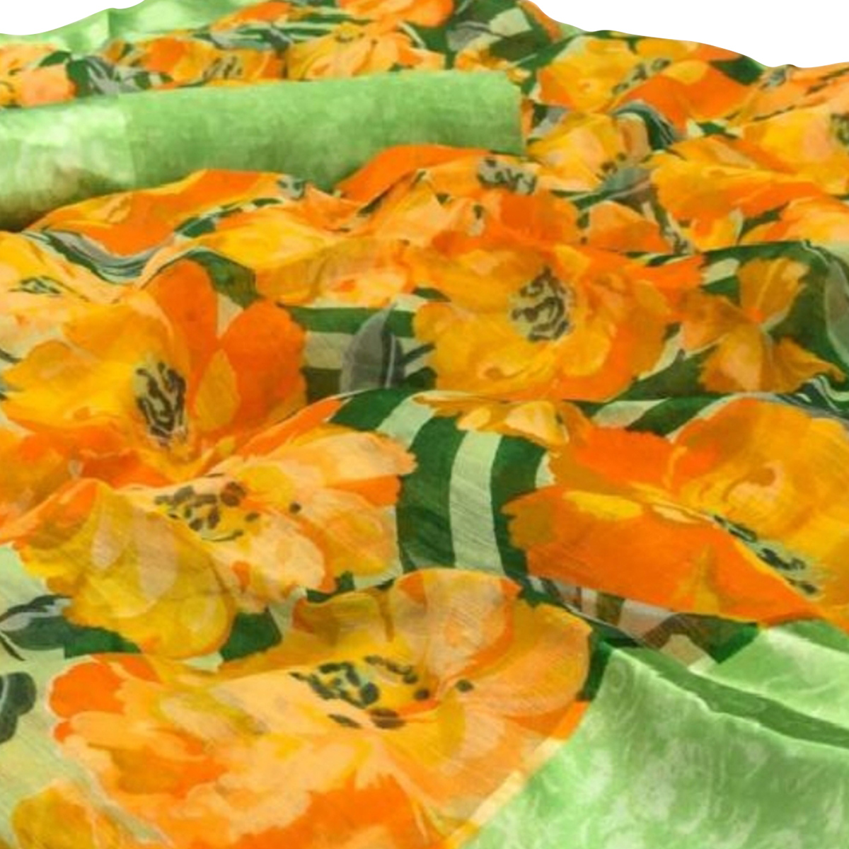 Beautiful Orange-Green Colored Casual Wear Floral Printed Linen Saree