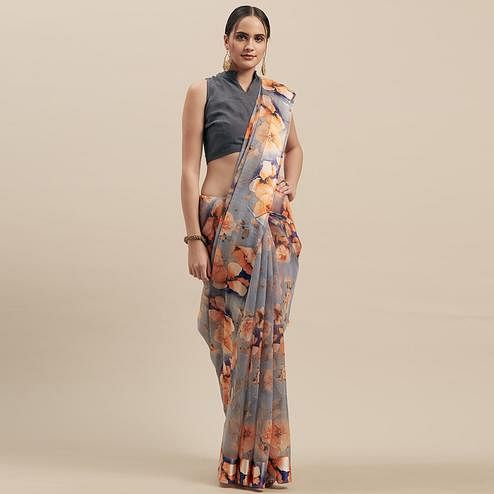 Graceful Grey-Orange Colored Casual Wear Floral Printed Linen Saree