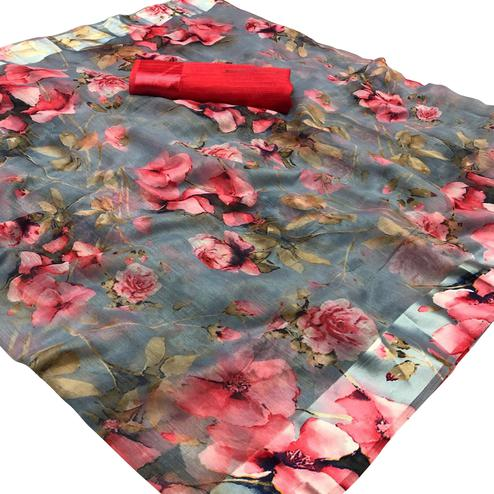 Blooming Grey-Pink Colored Casual Wear Floral Printed Linen Saree