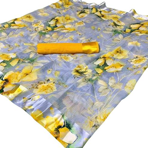 Charming Grey-Yellow Colored Casual Wear Floral Printed Linen Saree