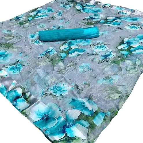 Jazzy Grey-Blue Colored Casual Wear Floral Printed Linen Saree