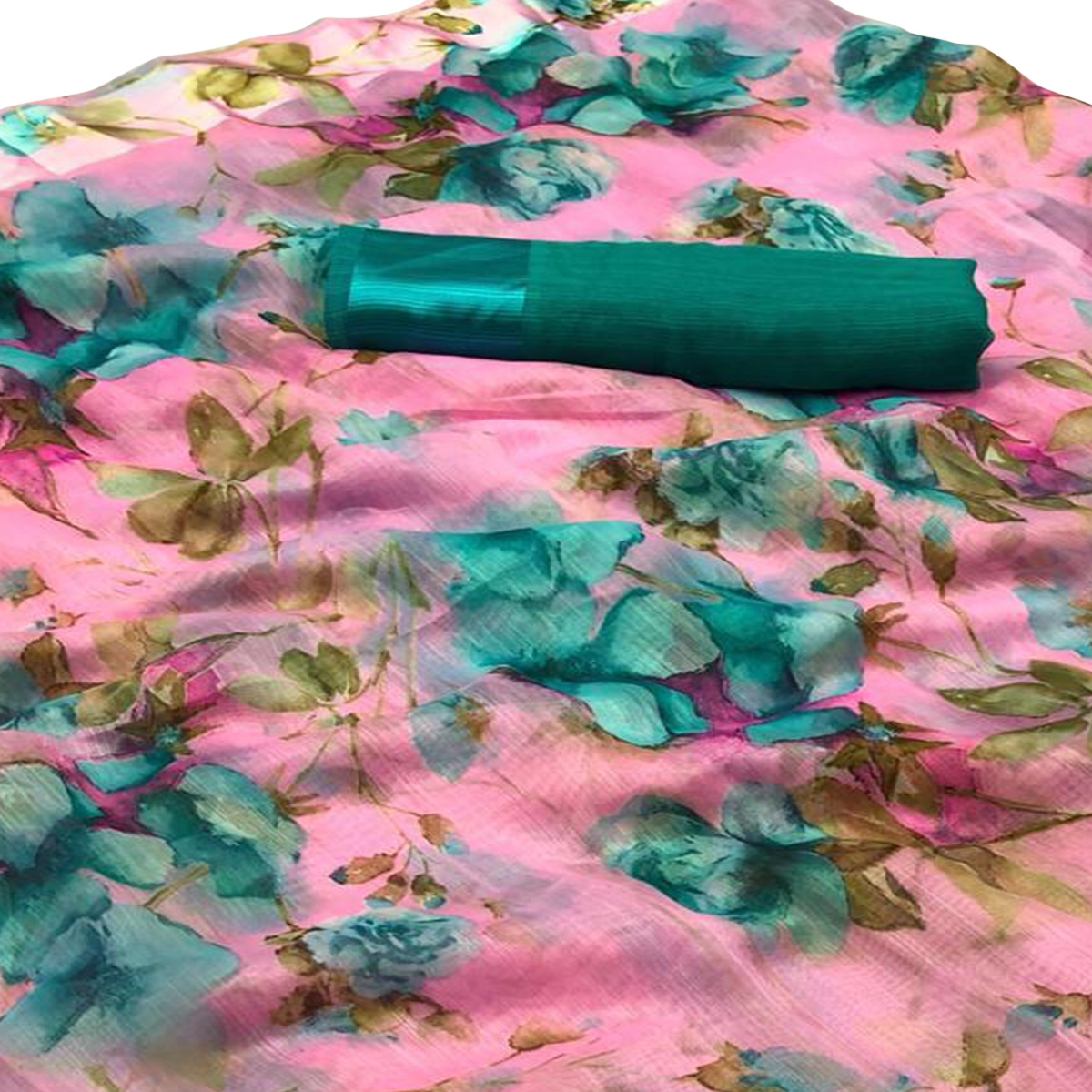 Delightful Pink Colored Casual Wear Floral Printed Linen Saree