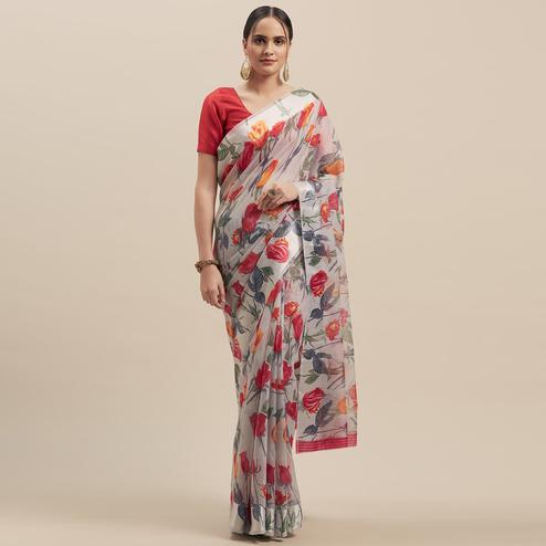 Captivating Grey-Pink Colored Casual Wear Floral Printed Linen Saree