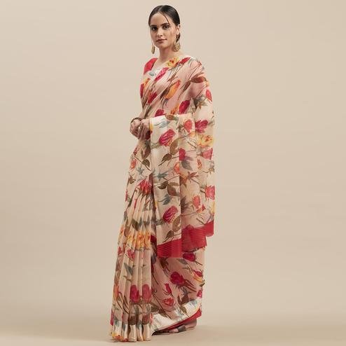 Innovative White-Red Colored Casual Wear Floral Printed Linen Saree