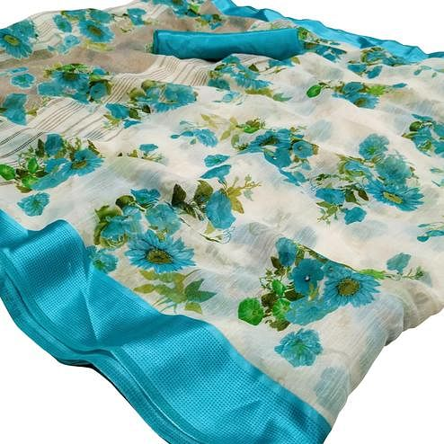 Eye-catching White-Blue Colored Casual Wear Floral Printed Linen Saree