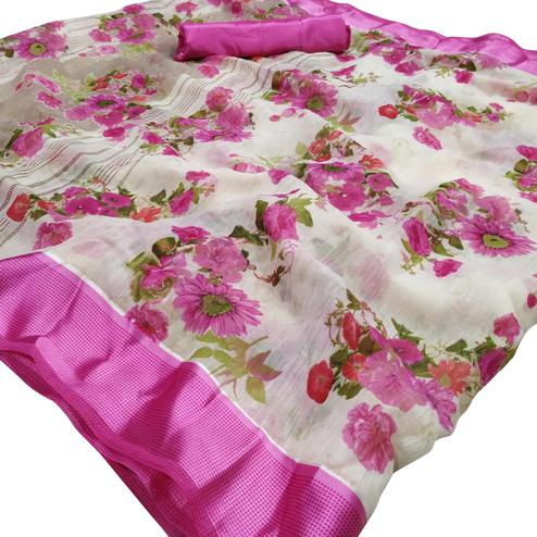 Fantastic White-Pink Colored Casual Wear Floral Printed Linen Saree