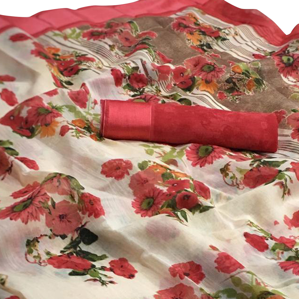 Amazing White-Red Colored Casual Wear Floral Printed Linen Saree