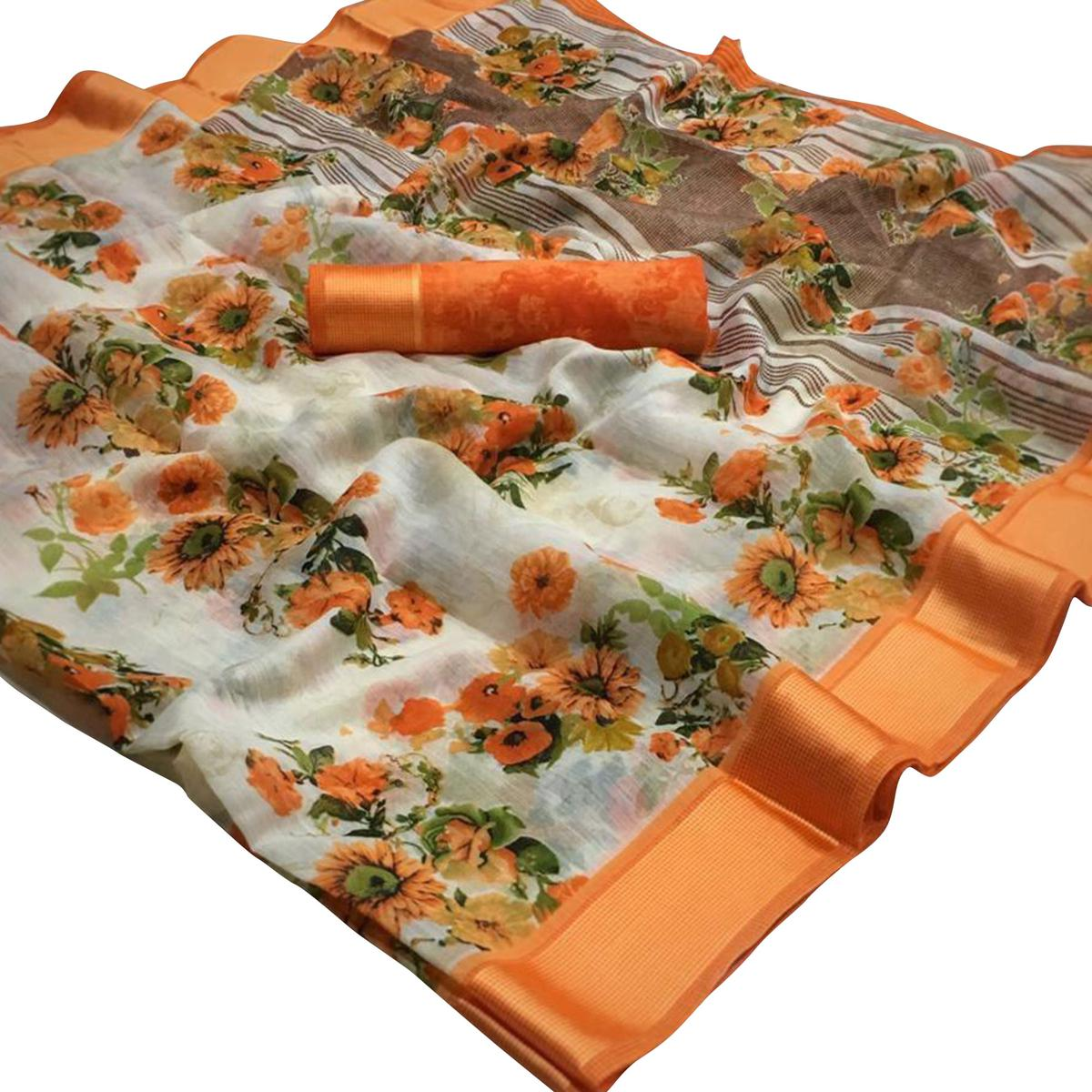 Gorgeous White-Orange Colored Casual Wear Floral Printed Linen Saree