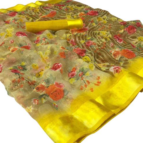 Blissful Yellow Colored Casual Wear Floral Printed Linen Saree