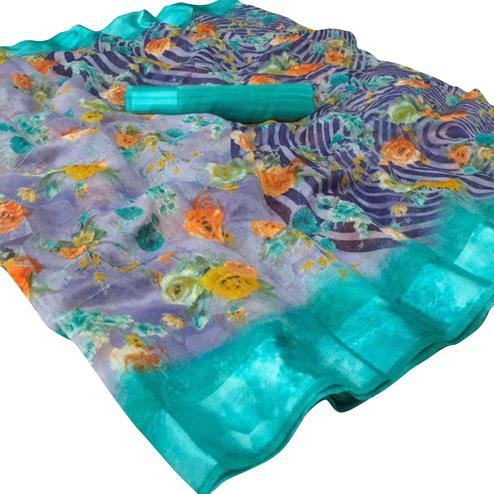 Ideal Blue Colored Casual Wear Floral Printed Linen Saree