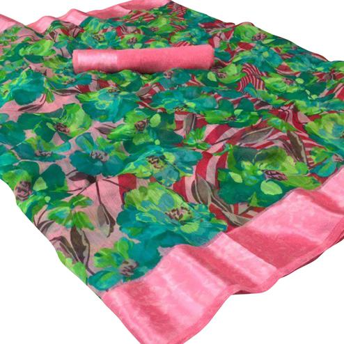 Lovely Geen Colored Casual Wear Floral Printed Linen Saree