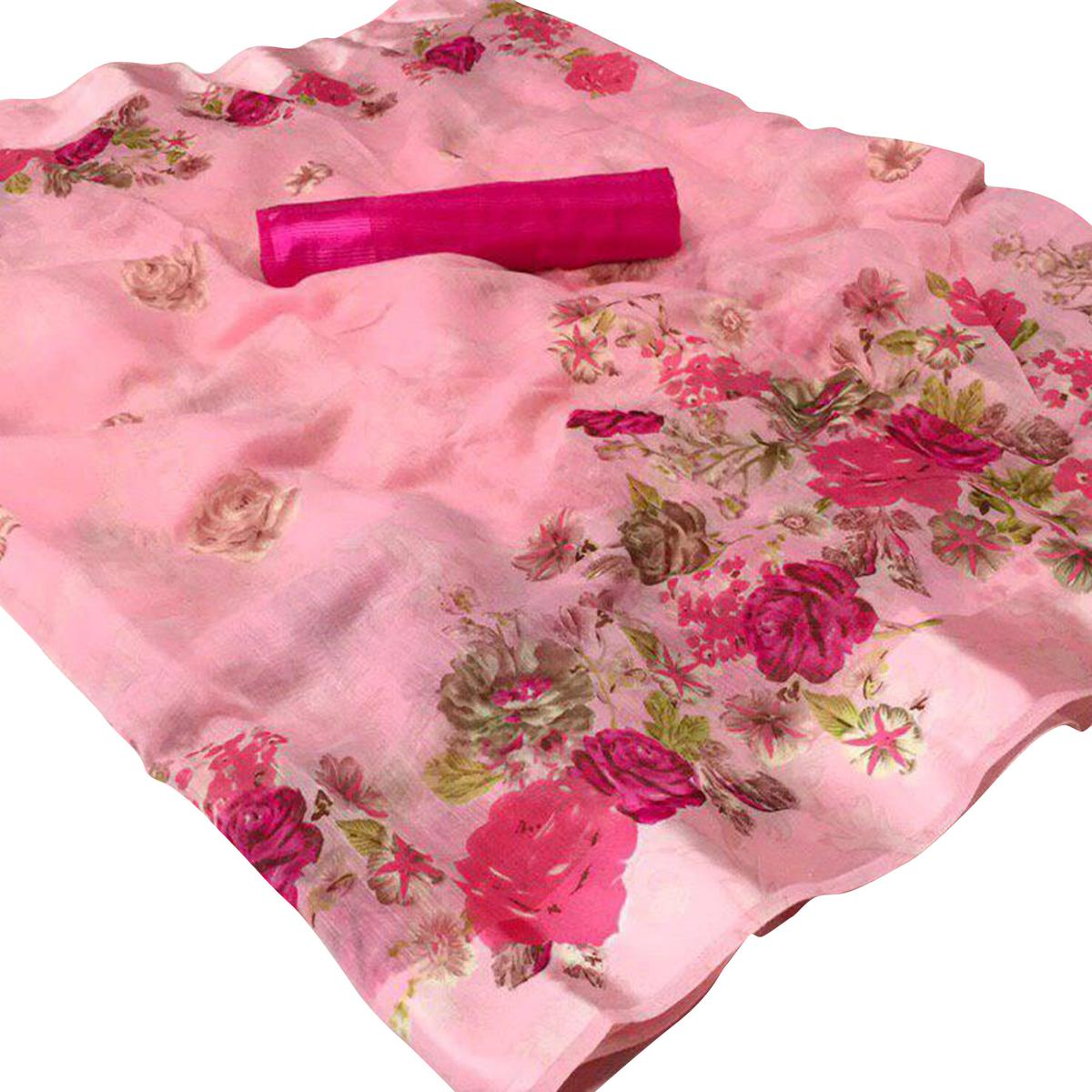 Impressive Pink Colored Casual Wear Floral Printed Linen Saree
