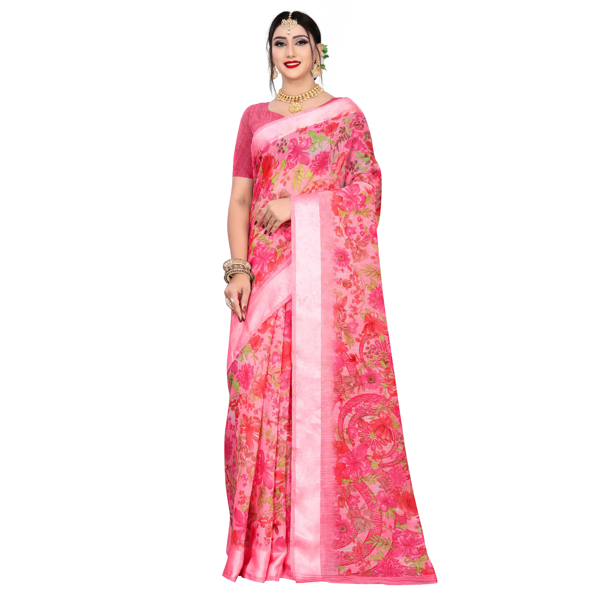 Magnetic Pink Colored Casual Wear Floral Printed Linen Saree