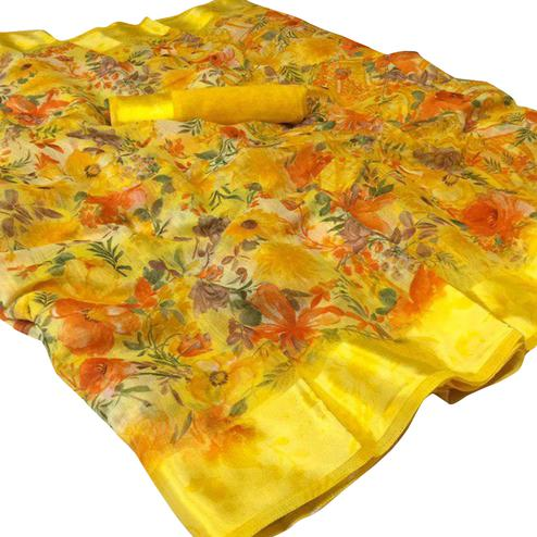 Hypnotic Yellow Colored Casual Wear Floral Printed Linen Saree